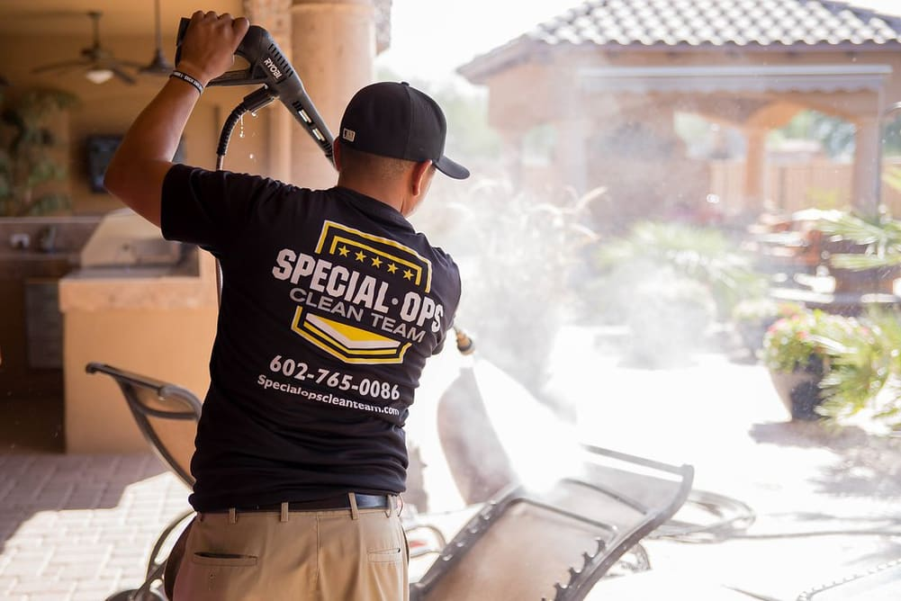 Special Ops Team Member Pressure Washing